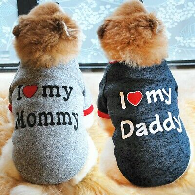 I Love Mummy/Daddy Small Dog Jumper Cat Clothes Pet Puppy Sweater For Yorkie Pug • 3.49£