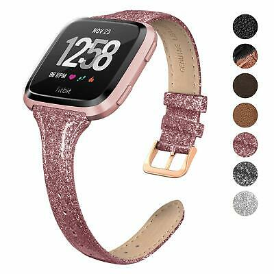 $ CDN19.27 • Buy Genuine Leather Band Compatible Fitbit Versa Slim Thin Strap Replacemet