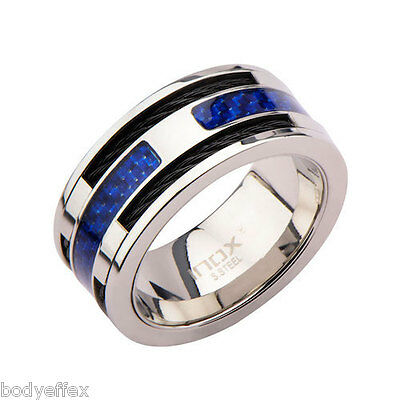 $19.99 • Buy Bold Mens Inox Blue Carbon Fiber With Black Cable Stainless Steel Band Ring