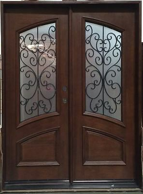$3495 • Buy Solid Mahogany Wood & Iron Double Door Pre-hung & Finished (DMH-8619) 6/0 X 8/0
