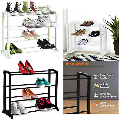 £9.99 • Buy 4, 7, 10 Tier Shoe Rack Extendable & Stackable Organiser For 12, 21 & 30 Pairs
