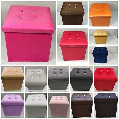 Soft Velvet Diamante Ottoman Folding Storage Box Footstool Seat New Colour 2size • 15.99£