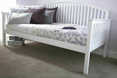 £251.99 • Buy White Day Bed Wooden Single Sofa Bed Spare Guest Room Occasional Slatted Madrid