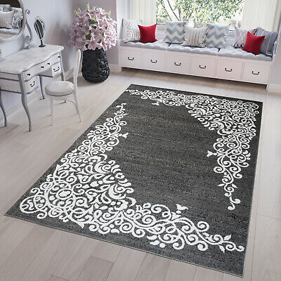 Dark Grey & White Modern TAPISO Rug Floral Rugs Small And Large Soft Floor Mat  • 39.90£
