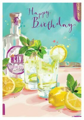 Birthday Card - Gin O'clock - At Home Ling Design Female Quality NEW • 2.69£