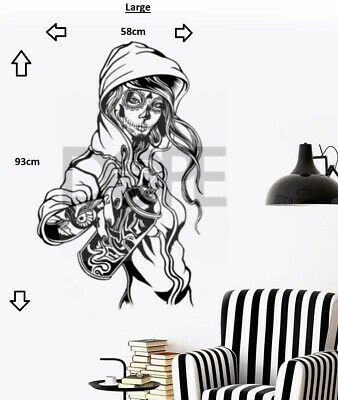 Candy Sugar Skull Graffiti Girl Tattoo Decor Vinyl Wall Sticker Decal • 16.99£