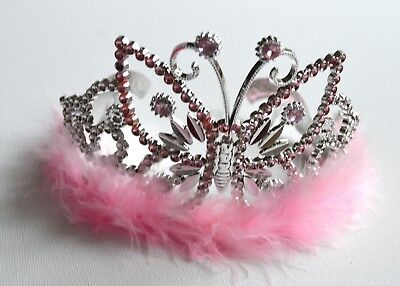 NEW Plastic Silver Childrens Pink Butterfly Tiara Hair Accessory Party Prom  • 4.99£