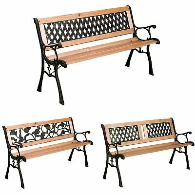 £48.94 • Buy Garden Bench 3 Seater Wooden Outdoor Patio Park Seating Furniture Home Seat