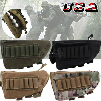 Tactical Rifle Butt Stock Cheek Rest Shell Mag Ammo Pouch Pack Bag Pocket Holder • 8.41$