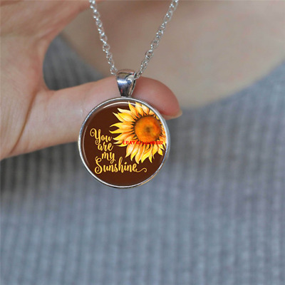AU1.39 • Buy You Are My Sunshine Sunflower Cabochon Glass Silver Chain Pendant Necklace