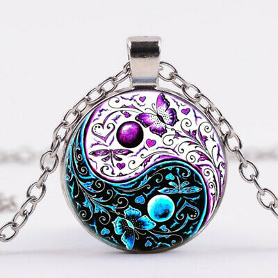 AU2.66 • Buy Ying Yang Butterfly Photo Tibet Silver Cabochon Glass Pendant Chain Necklace
