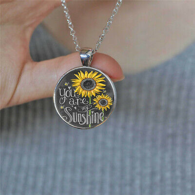 AU2.66 • Buy You Are My Sunshine Photo Cabochon Glass Silver Chain Pendant Necklace Vintage