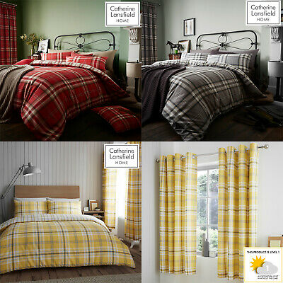 Catherine Lansfield KELSO Tartan Check Duvet/Quilt Cover Set Bedding Curtains • 31.99£