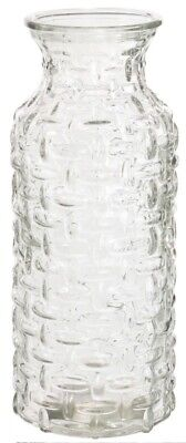 Large Glass Wide Mouth Bottle Flower Vase Woven Style Clear Glass / Carafe Jug • 8.99£