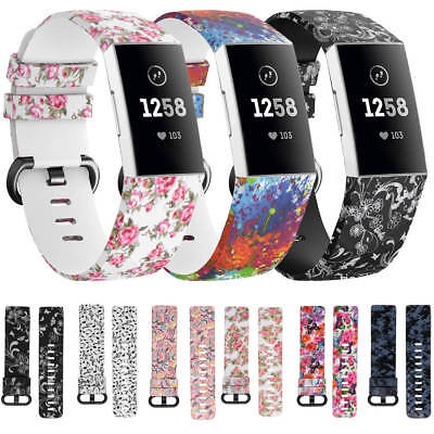 AU11.99 • Buy Fitbit Charge 4 3 / SE Replacement Floral Sport Strap Silicone Wrist Watch Band