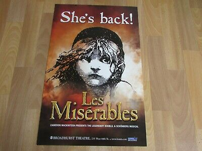 £20.99 • Buy She's Back Les Miserables Broadhurst Theatre US BROADWAY Show Poster