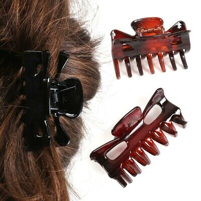 £5.25 • Buy Pack Of 4 WOMANS HAIR CLIPS BLACK & BROWN Clamp Grip Hairstyle Bulldog Hairpins