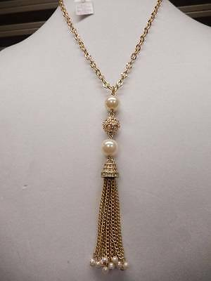 $ CDN29.87 • Buy Lia Sophia Necklace Gold Tone Long Tassel Pearl Crystal NWT 34  N465