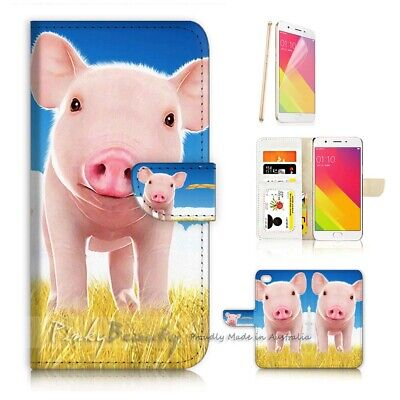 AU12.99 • Buy ( For Oppo A57 ) Wallet Case Cover P21734 Cute Baby Pig
