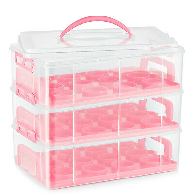 Cupcake Carrier Holder Container Box Plastic Storage Basket Taker Courier, Pink • 37.64£