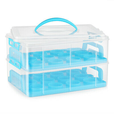 Cupcake Carrier Holder Container Box Plastic Storage Basket Taker Courier, Blue • 23.17£
