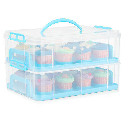 Cupcake Carrier Holder Container Box Plastic Storage Basket Taker Courier, Blue • 32.26£