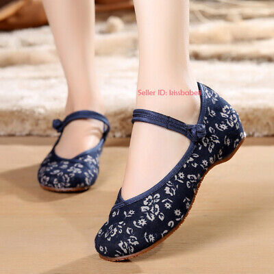 £12.87 • Buy Women Chinese Traditional Casual Flower Cloth Shoes Flat Mary Jane Handmade Shoe