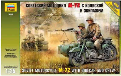 SOVIET MOTORCYCLE M-72 WITH SIDECAR AND CREW 1/35 Soldiers Figures Kit ZVEZDA • 16.57£