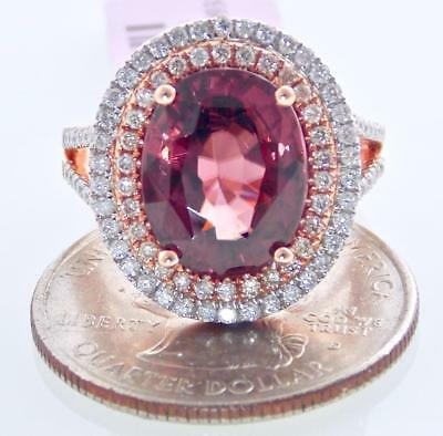 AU5255.68 • Buy Fabulous 14k Rose Gold 10.06ct Vs Diamond Red Zircon Double Halo Solitaire Ring