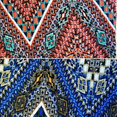£5.70 • Buy 100% Polyester Pleated Printed Jersey Big Zig Zag Festival Aztec Funky