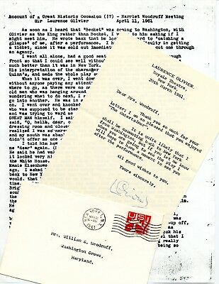 Laurence Olivier Hand Signed Letter On Personal Letterhead A Memorable Meeting • 175.62£