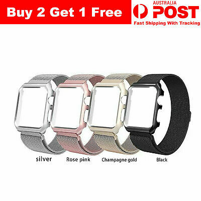 AU4.79 • Buy Magnetic Milanese Stainless Band Strap+Protect Case Frame For Apple Watch Series