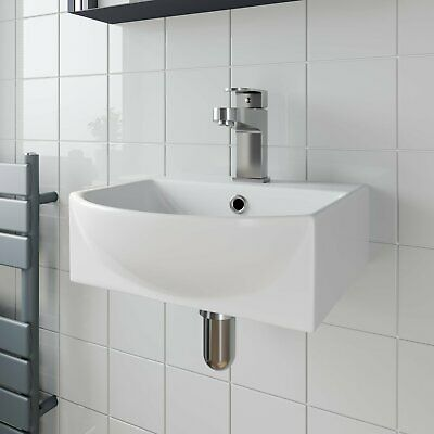 Bathroom Wall Hung Basin Hand Wash Sink 1 Tap Hole White Gloss Cloakroom Modern • 44.99£