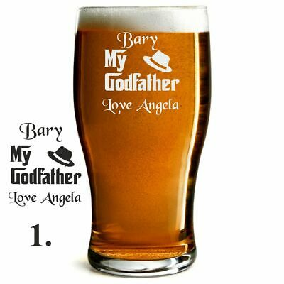 Personalised  Engraved Beer Pint Glass Godfather Christening/baptism Gift • 7.99£