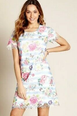 Yumi - Vibrant Floral And Butterfly Lace Tunic Blue Dress Uk 12 • 33.50£