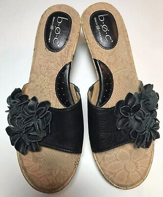 062fb33845a Born Boc Sandals Women s Wedge Cork Black Leather Slip On Floral Size 7 •  11.25