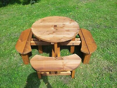 Excalibur Childrens Garden Round Picnic Bench Table 38mm Thick Timber • 155£