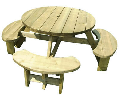 Round Picnic Table Bench Winchester 1140mm Table Top, 38mm Treated Timber • 232£