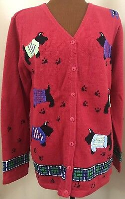 $28.95 • Buy Quacker Factory Christmas Scottie Dog Cardigan Sweater Size M Red