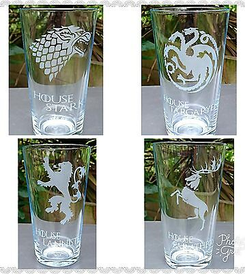 £27.99 • Buy Set Of 4 Game Of Thrones Engraved Pint Glasses