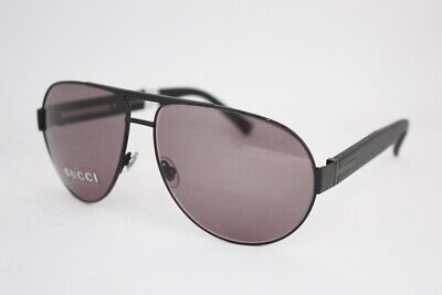 06e94be160b GUCCI GG 1924 S Sunglasses DJKBN Shiny Black 62mm MEN AVIATOR • 147.00
