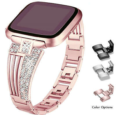 $ CDN16.99 • Buy Compatible Fitbit Versa Bands Replacement With Bling Rhinestones Metal Bracelet