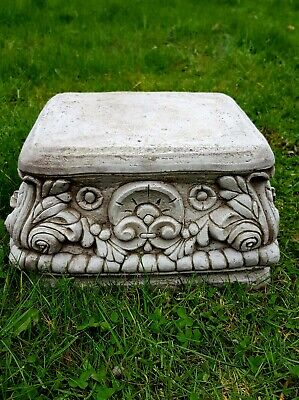 £56.99 • Buy Beautiful SQUARE PLINTH Highly Detailed Stone Garden Ornament