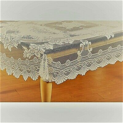 $18.37 • Buy  Lace  Tablecloth  63 X 90 RECTANGLE   In IVORY  Floral Design
