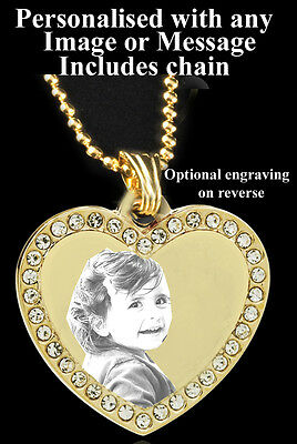 Gold Plated Photo Pendant Personalised With Any Picture/image /words With Chain • 10.99£