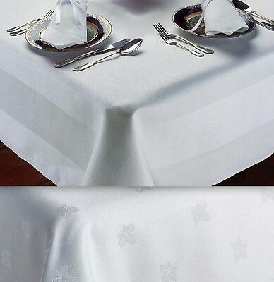 Tablecloths White 100% Egyptian Cotton Damask Ivy Leaf / Satin Band -Table Linen • 15£