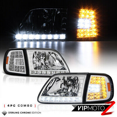 $98.18 • Buy For 97-03 Ford F150 Expedition Chrome [3RD GEN] LED Corner Signal Lamp Headlight