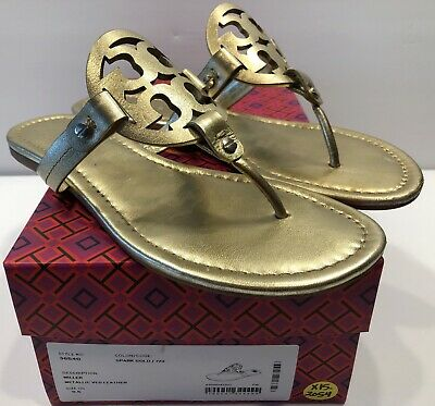 0079bb02f379 Tory Burch Miller Spark Gold Smooth Leather Thong Sandal Flats Sz 9 1 2 9.5