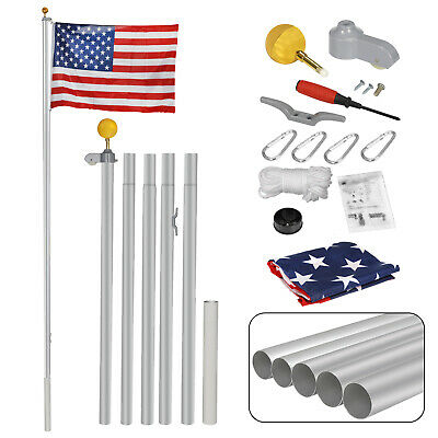 16FT Sectional Flag Pole Flagpole Halyard Pole 3'x5' US Flag And Ball Top Kit  • 33.97$