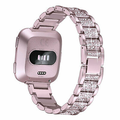 $ CDN20.11 • Buy Compatible Fitbit Versa Bands Replacement With Bling Rhinestones Metal Bracelet